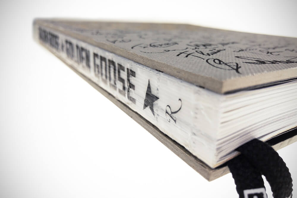 Golden Goose bodonian binding with visible thread
