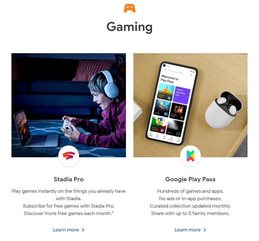 Gaming - Google Store: subscriptions
