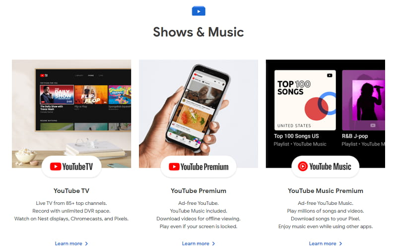 Shows & Music - Google Store: subscriptions