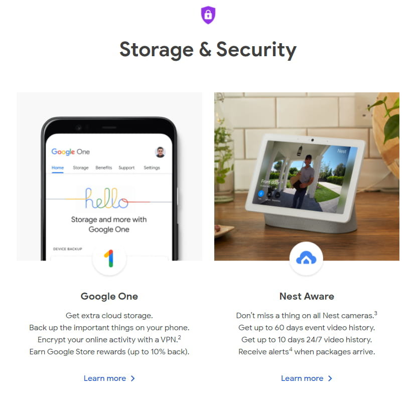 Storage & Security - Google Store: subscriptions